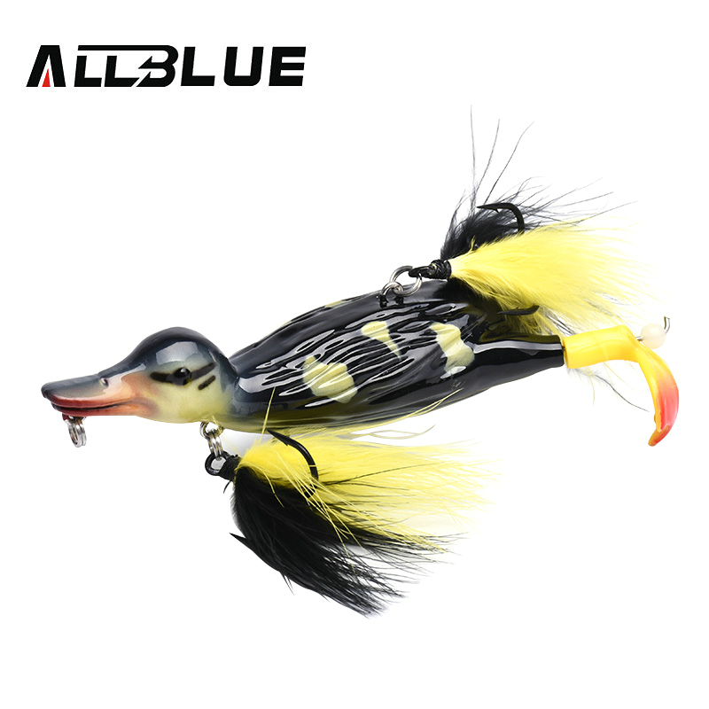 ALLBLUE 3D STUPID DUCK Topwater Fishing Lure Floating Artificial Bait Plopping and Splashing Feet Hard Fishing Tackle Geer bracelet