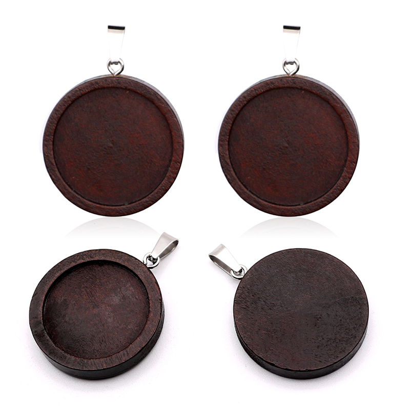 10pcs/lot Brown Wood Necklace Pendant Setting Cabochon Cameo Base Tray Bezel Blank Fit 25mm Cabochons Jewelry Making Findings