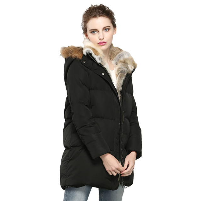 0709df9e8 Winter Jacket Womens Down Coat Real Rabbit Fur Hooded Parkas White Goose Down  Coats Women Jackets