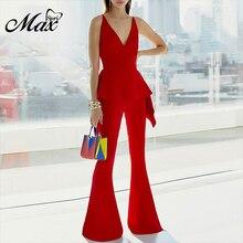 цена на Max Spri 2019 New Fashion 2 Piece Sets Women Sexy V Neck Sleeveless Ruffles High Low Top Loose Flared Pants Suits Office Lady
