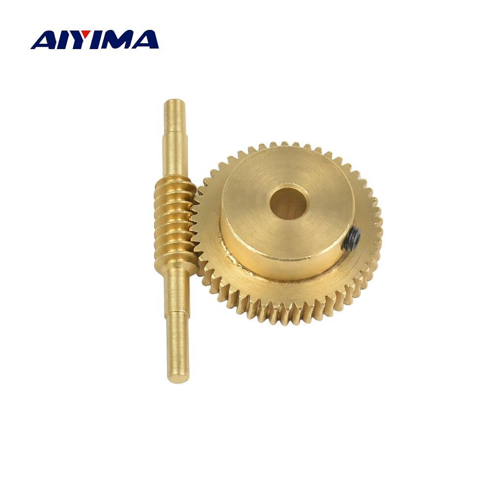 Aiyima 0.5m Modulus 50 Teeth Copper Worm Wheel Gear Large Reduction Ratio 1:50 Hole 5mm 6mm Shaft Worm Turbine Motor Gears