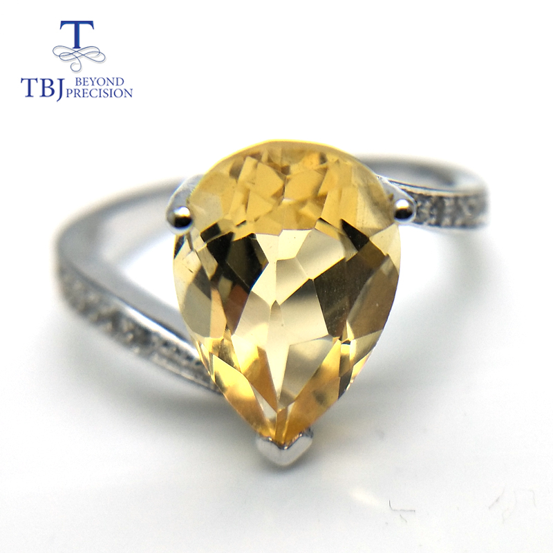 TBJ,Classic elegant simple citrine pear 8*12mm gemstone Ring 925 sterling silver fine jewelry for women daily wear gift TBJ,Classic elegant simple citrine pear 8*12mm gemstone Ring 925 sterling silver fine jewelry for women daily wear gift