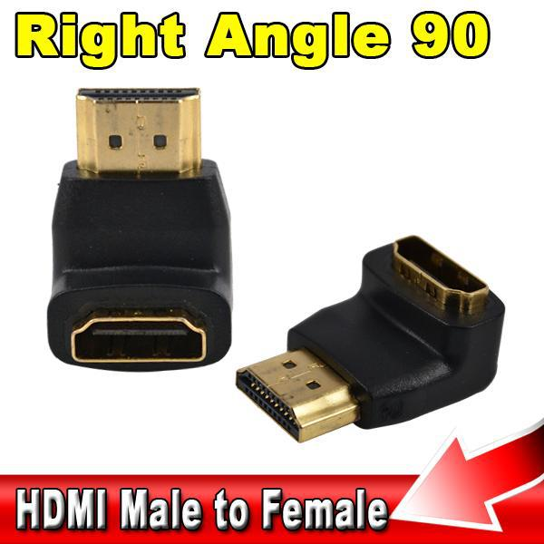 HDMI Male to Female M/F 90 Degree Converter Adapter right angle Golden Plated HD TV For Xbox 360 for PS3 HDTV Video Monitors