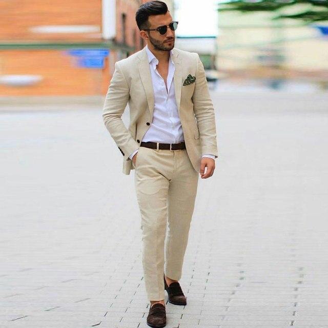 bien baratas diseño atemporal sobornar auténtico Champán Lino de los hombres trajes boda hombre chaquetas y americanas  esmoquin traje Homme 2 piezas abrigo Pantalones Slim Fit Terno Masculino