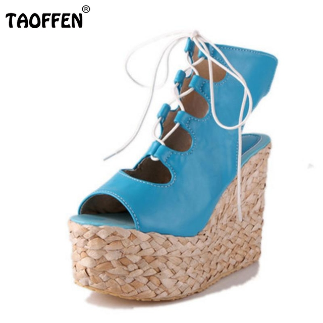 66b89f73a1d TAOFFEN Women Shoes Women Sandals Wedge Heeled Platform Novel Cross Strap  Casual Fashion Holiday Female Footwears Size 34-43