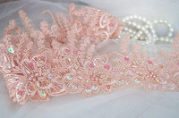 1 Yard Pink Alencon Lace Trim Ivory Pearl Beaded Cord Lace Trim Scalloped Sequined Trim Lace