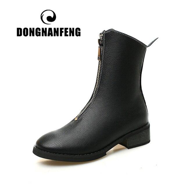 DONGNANFENG Phụ Nữ Nữ Nữ Mẹ mùa xuân Mùa Thu Giày Boots Bò Da Chính Hãng Da Heo Dây Kéo Tiếng Anh Retor 35-40 YM-668ym