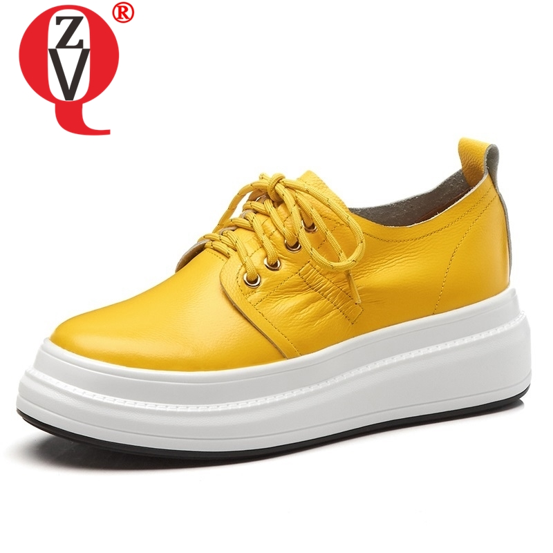 ZVQ أحذية امرأة 2019 الربيع جديد موجزة جودة عالية جلد طبيعي النساء مضخات عالية أسافين منصة جولة اصبع القدم عبر تعادل أحذية-في أحذية نسائية من أحذية على  مجموعة 1