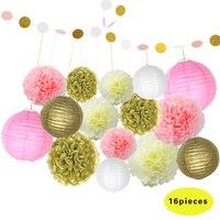 HAOCHU Chinesische Papierlaterne Lampe Festival Hochzeit Garland Partei Dekoration Rosa/Weiß/Gold Seidenpapier Blumen Balls