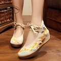 Vintage Embroidery Pumps Spring Autumn Old Beijing cloth shoes fairy Girl embroidered national Han Chinese women's Shoes