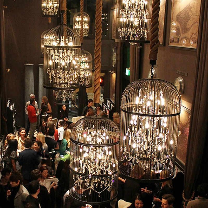 Железная клетка промышленная люстра Кофейня Бар Ресторан деревенская люстра Лофт винтажный декор черный кристалл подвесной светильник