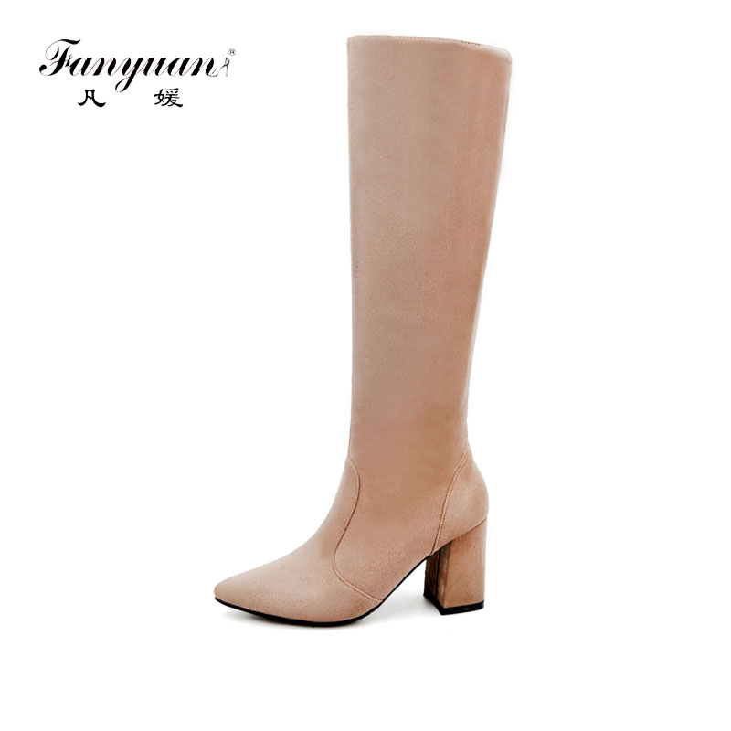 Fanyuan 2017 hot sale spring autumn new arrive women boots fashion Faux Suede pointed toe zipper solid color over the knee boots fanyuan 2017 hot sale spring autumn new arrive women boots fashion faux suede pointed toe zipper solid color over the knee boots