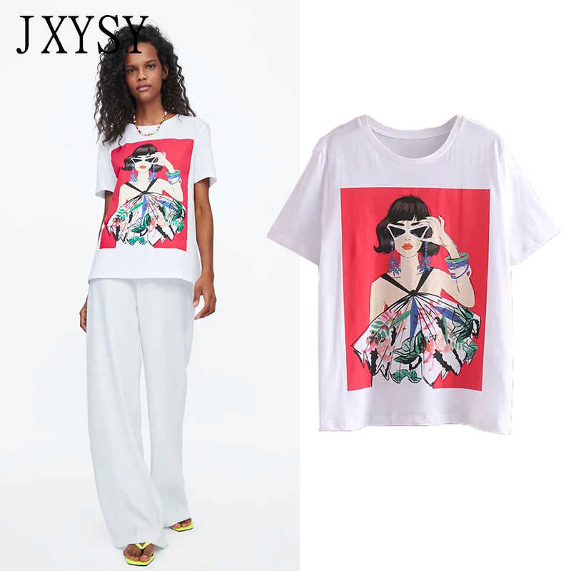 JXYSY 2019 t-shirt women england style fashion character Printing cotton short sleeve woven t shirt women tops