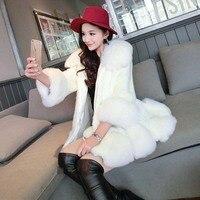 2016 Новая мода зимняя куртка Для женщин верхняя одежда Для женщин белый искусственный мех лисий мех пальто Для женщин пальто розового цвета