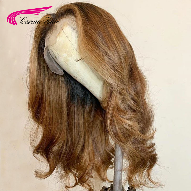 Image 2 - Carina Brazilian Body Wave 13X6 Lace Front Human Hair Wigs PrePlucked Honey Blonde Remy Ombre Color Glueless Wig-in Lace Front Wigs from Hair Extensions & Wigs