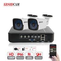KRSHDCAM 4CH CCTV System 1080P AHD 1080N CCTV DVR 2PCS 3000TVL IR Waterproof Outdoor Security Camera Home Video Surveillance kit