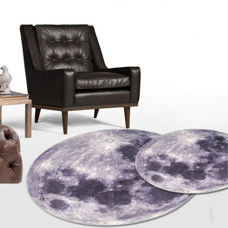 3D Earth Round Mat 80/100/120CM Parlor Hallway Moon Carpet Computer Chair Mat Kids Room Living Room Rugs For Coatroom Decoration