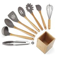 Silicone Kitchen Utensils 9 Piece Cooking Utensils Set with Bamboo Wood Handles for Nonstick Cookware, Utensils Holder Included
