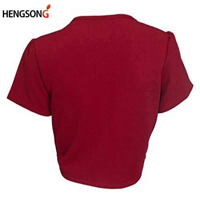 HENGSONG 2018 Plus Size Nữ Tay Ngắn Crop Áo Khoác Ngắn Bolero Nhún Vai Chắc Chắn Mở Nữ Thời Trang Nữ Ôm Áo Khoác Áo Khoác Ngoài