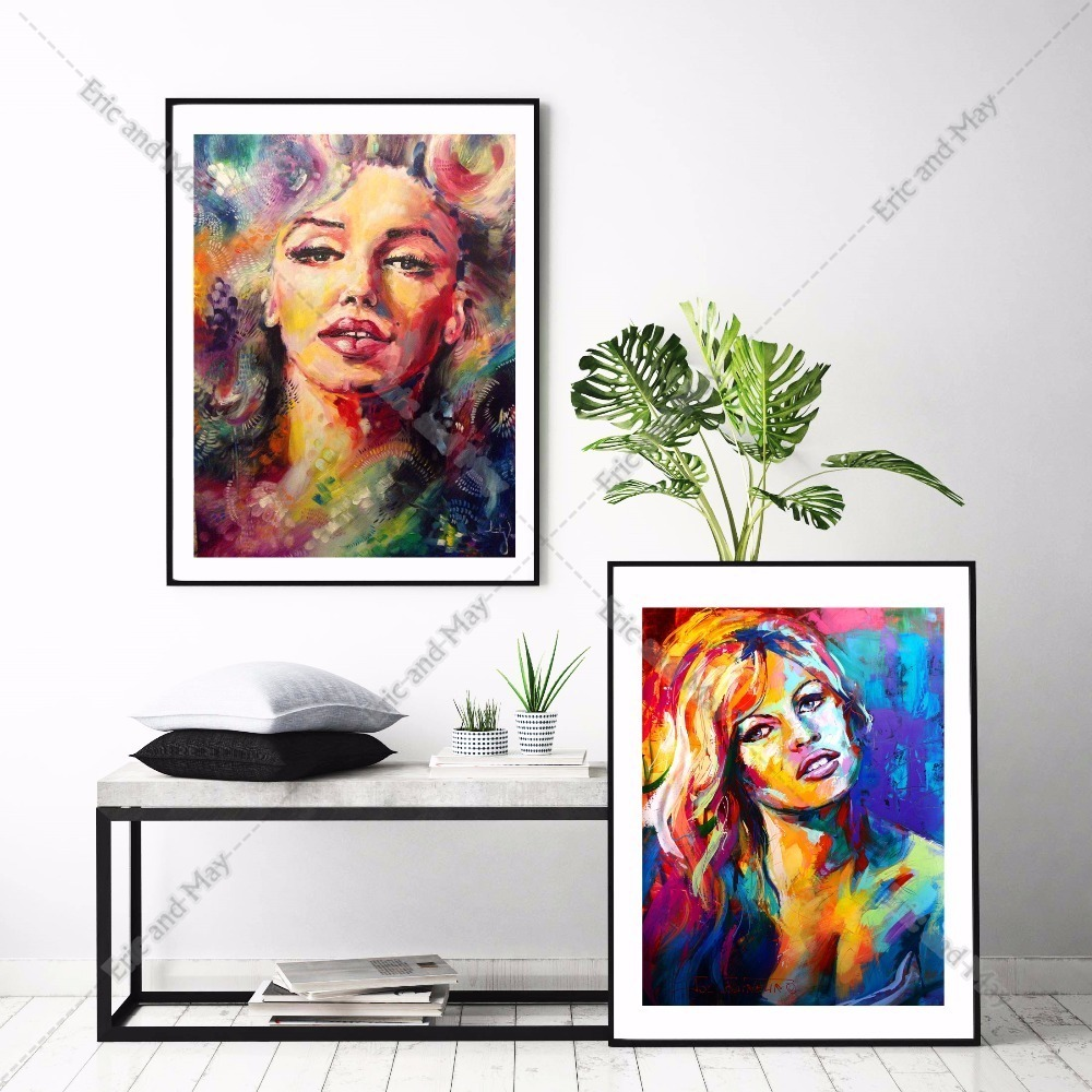 Monroe Women Portrait Canvas Art Print Painting Poster Watercolor Wall Pictures For Living Room Decorative Home Decor No Frame in Painting Calligraphy from Home Garden