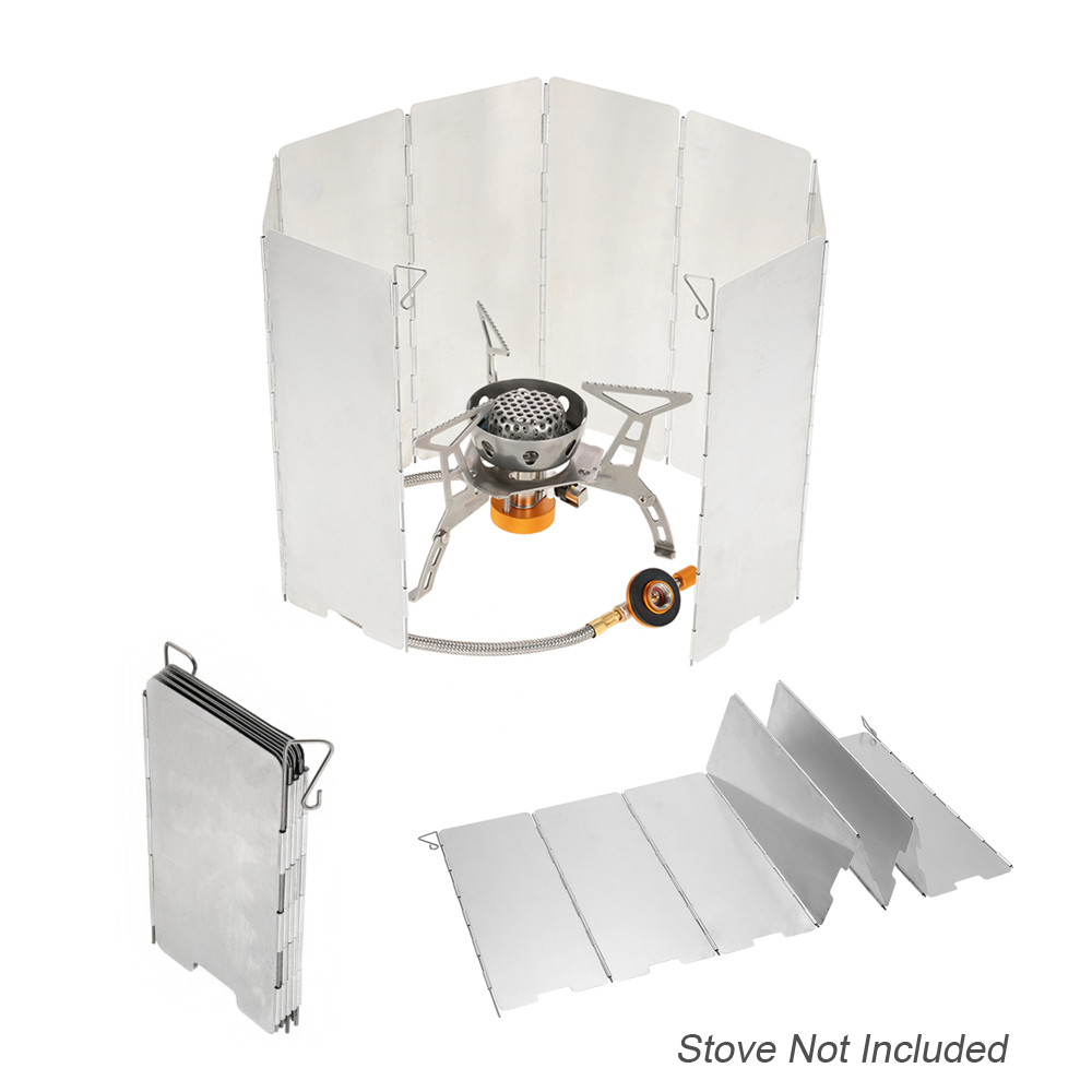 10Pcs Wind Shield Outdoor Camping Picnic Stove Head Windshield Portable Folding