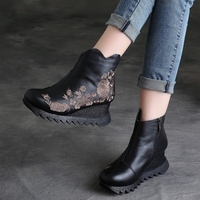 2017 Autumn Women Ankle Boots Embellished Genuine Leather 5 CM Wedge Heel Chelsea Boots Designer Black