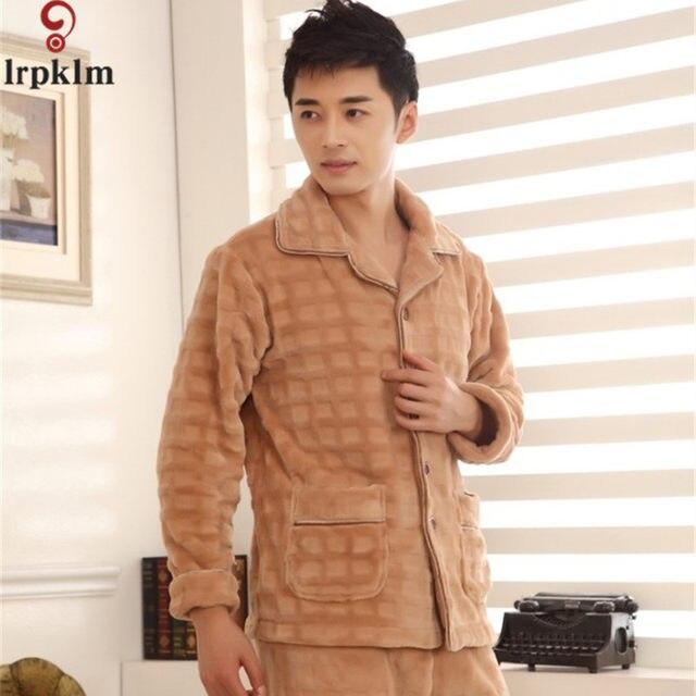 2017 Winter Keep Warm Thick Coral Fleece Men Pajamas Sets of Sleep Tops    Bottoms Flannel Sleepwear Thermal Nightclothes SY714 9e1b03ca7