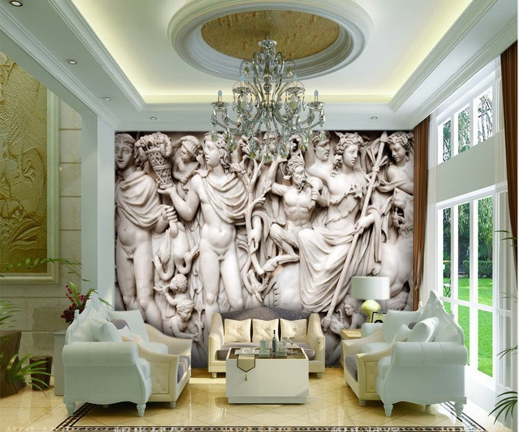 Wall Sculptures For Living Room Beibehang Mural 3D Wall Paper European Sculpture Like Retro Art
