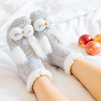 Autumn Winter New Cartoon 3D Rabbit Owl Women Socks Cute Animal Non Slip Thick Coral Cashmere