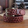 Knitted belt male women's strap cowhide vintage pin buckle casual genuine leather belt
