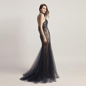 Image 2 - Luxury Evening Dresses Long Mermaid Elegant Crystal Prom Gown Tull Halter Backless Sleeveless Women Formal Robe De Soiree LSX437