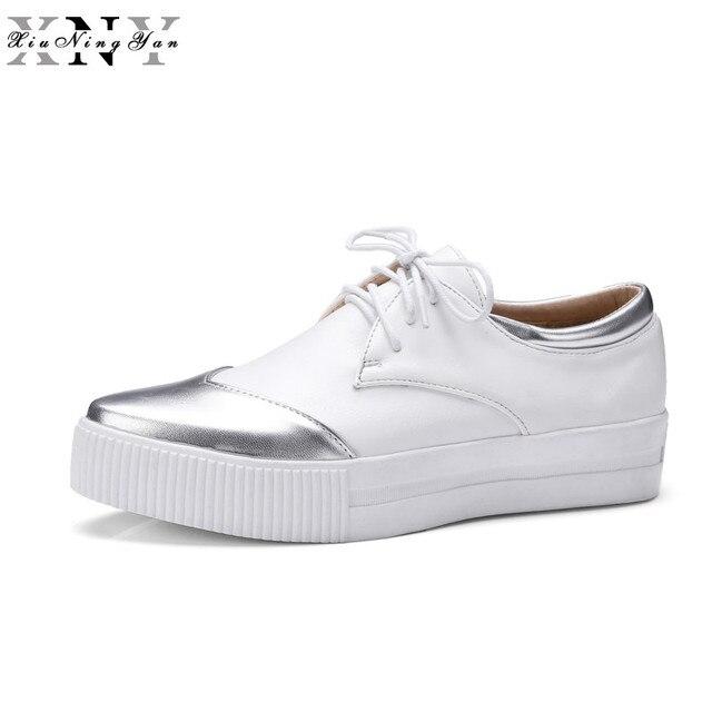 e8e6daa6b39 XiuNingYan Women Casual Shoes Platform Loafers Women s Flats Genuine  Leather Fashion Black White Walking Shoes Woman Oxfords New
