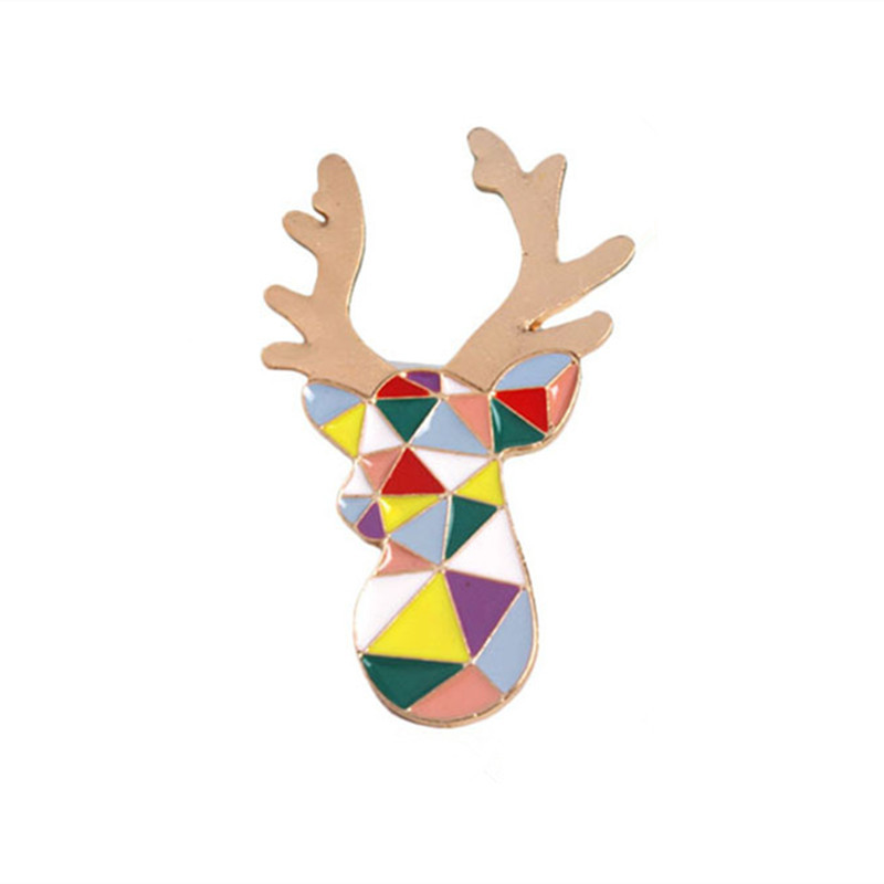 Enamel Dripping Oil Color Geometry Deer Head Antlers Brooch Flowers Broches Brooches Broche Pin Fashion Safety