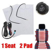 2pcs 1 Seat 12V Carbon Fiber Universal Heated Seat Heater Pads Car High Low Round Switch