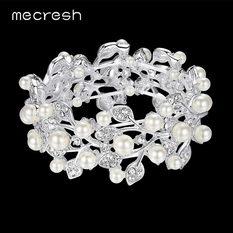 Mecresh Simulated Pearl Wedding Bracelets & Bangles for Women Clear Leaf Crystal Bridesmaid Bridal Pulseras Christmas Gift SL142