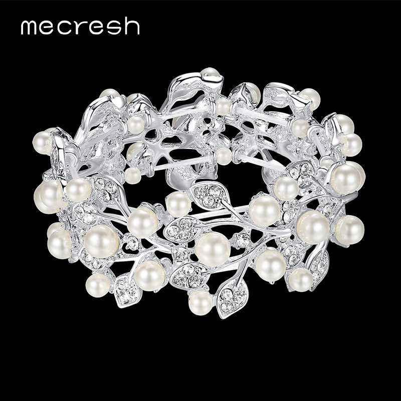 Mecresh Simulated Pearl Bryllup Armbånd & Bangles For Women Klar Leaf Crystal Bridesmaid Bridal Pulseras Julegave SL142