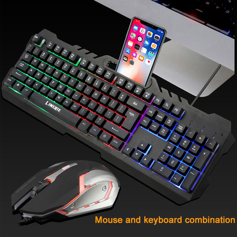 2019 New Gaming Set Combos USB Wired LED Backlit Mechanical Feel Gaming Keyboard With 3200 DPI Adjustable Gaming Mouse For Gamer