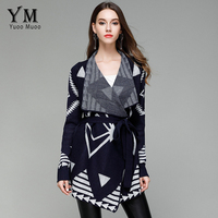 YuooMuoo Spring Autumn Women Geometric Knitted Turn Down Collar Cardigans With Belt Casual Elegant Striped Long Sweater Outwear