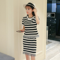 Make Fashion Suits Stripe Two Piece Dress Short Sleeve Shirt Tassels Skirts Women Dress