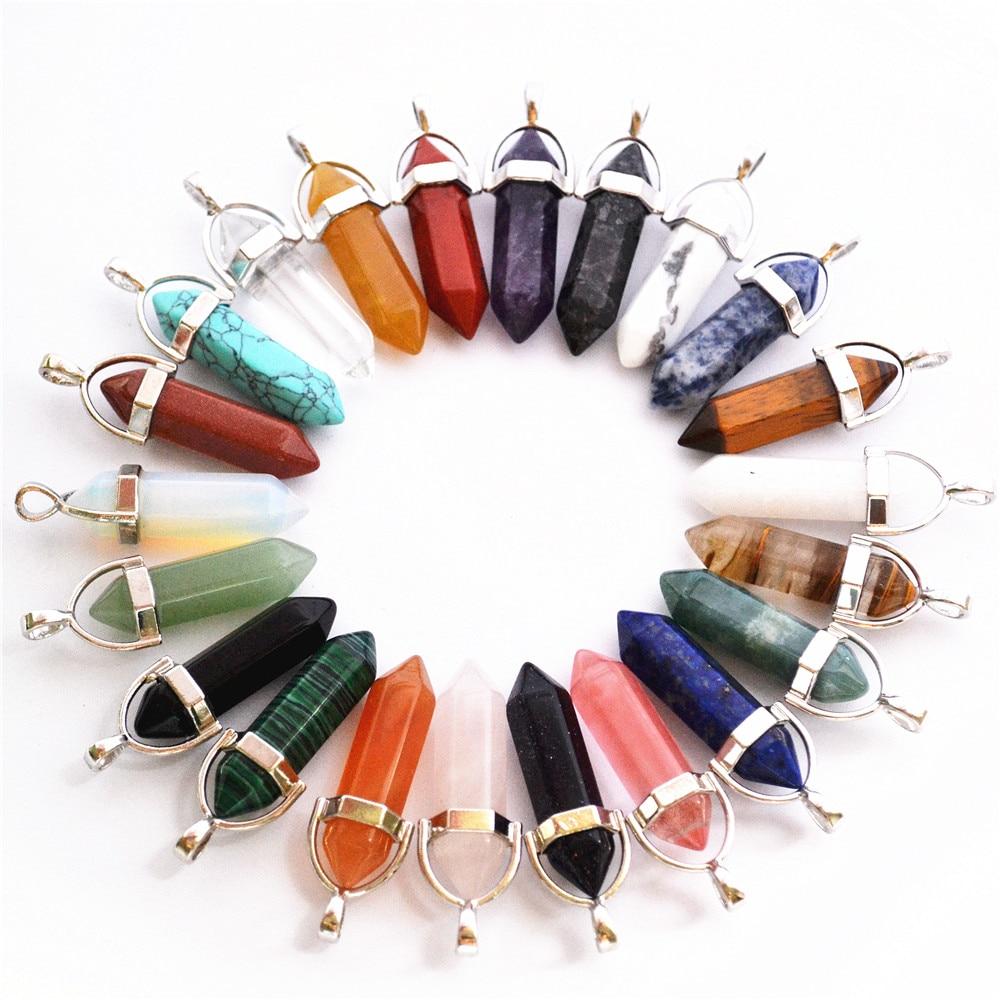 Wholesale 24pcs//lot Mixed Natural stone Point Chakra Healing Gemstone Pendants