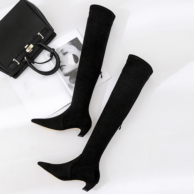 a6055abf89 Boussac Kitten Heel Over The Knee High Women Boots Faux Suede Stretch Slim  Boots Pointed Toe High boots Shoes Woman SWE0155