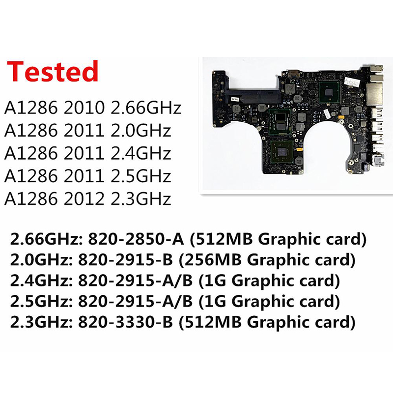 Tested A1286 Motherboard for Macbook Pro 15 2010 Laptop Logic Board i7 2.66Ghz 820 2850 A 2011 2.0Ghz 820 2915 B 2012 2.3GHz
