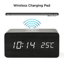 LUDA Wooden Alarm Clock With Qi Wireless Charging Pad Compatible With For Iphone Samsung Wood Led Digital Clock Sound Control