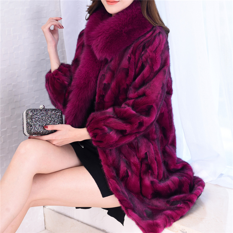 Natural Mink Fur Coats Outerwear Women Real Fox Fur Collar Warm Winter Fur Jackets Ladies Genuine Leather Fur Overcoat Plus Size image