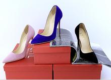 LTTL Stilettos Women Shoes 12CM High Heels Suede Pumps Women Heels Sexy Pointed Toe Wedding Shoes For Woman