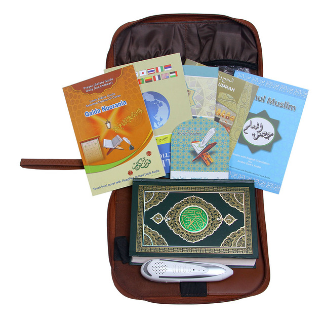 Leather bag Quran pen reader  Koran reading pen player more than 25 reciters and30  translations Free shipping