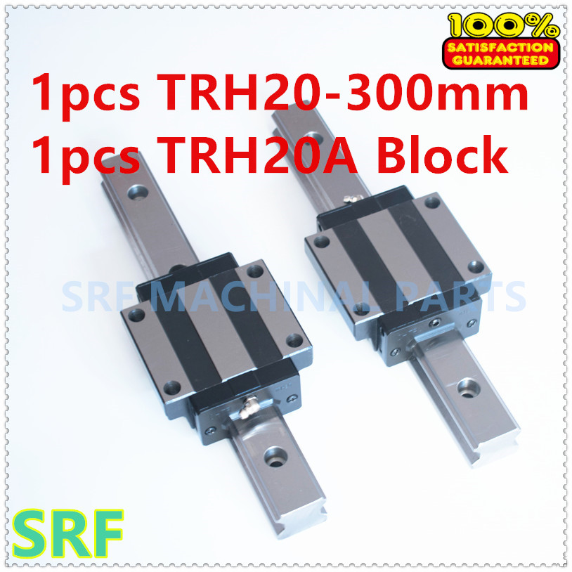 High quality 1pcs  Linear guide rail TRH20 L=300mm with 1pcs TRH20A Flange block for CNC tbi 2pcs trh20 1000mm linear guide rail 4pcs trh20fe linear block for cnc