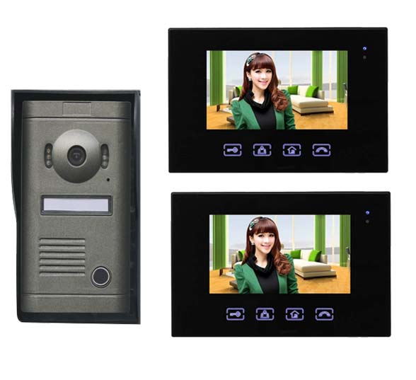2016 New Arrival Touch key 7inch wired video door phone, HD waterproof camera, night vision 1 camer+2 monitor