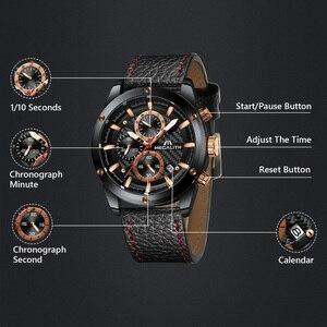 Image 4 - MEGALITH mode militaire montre Sport hommes montres étanche chronographe horloge hommes bracelet en cuir Quartz montres hommes 8004