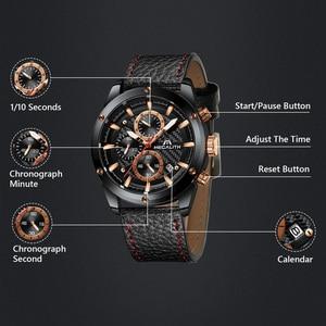 Image 4 - MEGALITH אופנה צבאי שעון ספורט גברים שעונים עמיד למים הכרונוגרף שעון גברים עור רצועת קוורץ יד שעונים זכר 8004